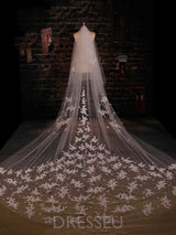 High Quality Cathedral Train Wedding Veils with Appliques
