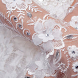 White Lace Wedding Gloves with Crystal