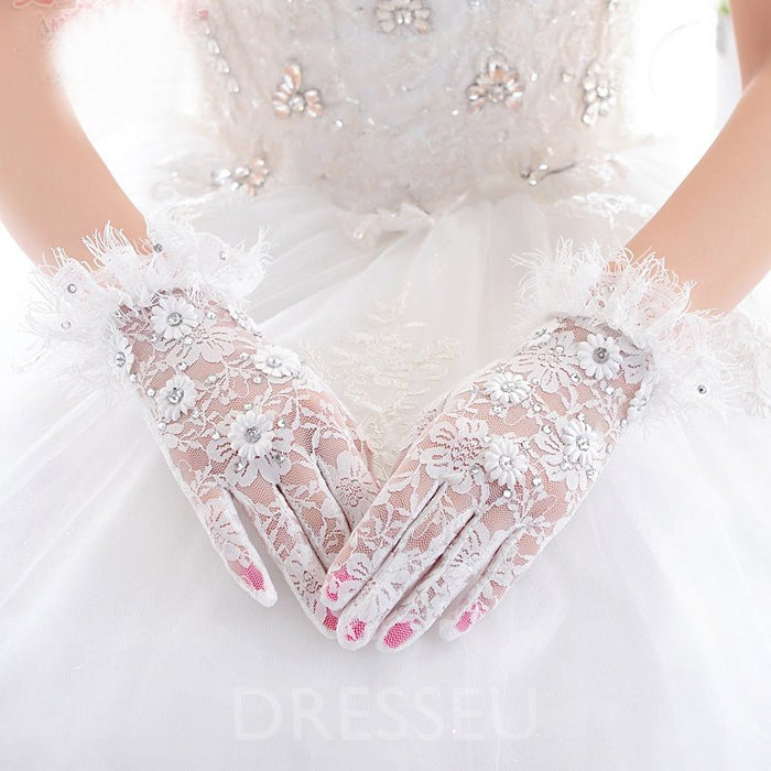 Beautiful Ivory Lace Wedding Gloves