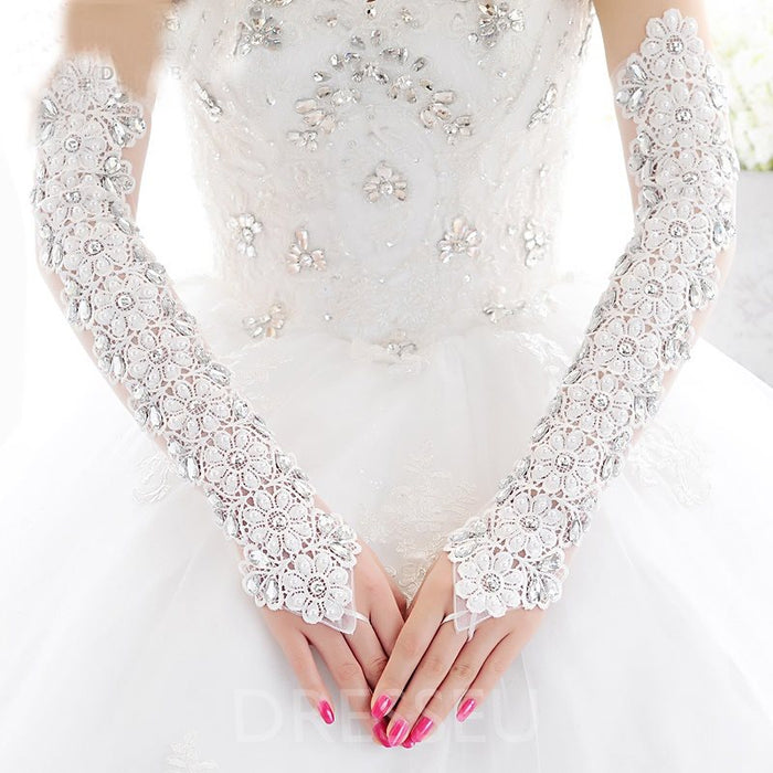 Flowers Lace Wedding Gloves with Bead