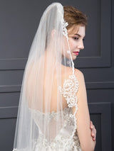Wedding Veils with Lace Appliques
