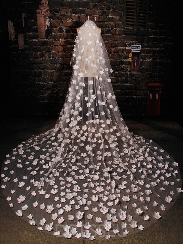 Two-Layer Tulle Cathedral Train Wedding Veils with Flowers