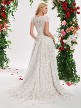 Lace A-Line Sweep/Brush Train Cap Sleeves V-Neck Wedding Dress