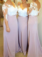 3/4 Length Sleeves Sheath/Column Floor-Length Appliques Bridesmaid Dress