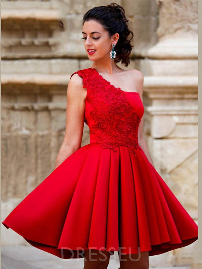 Short/Mini Sleeveless A-Line One Shoulder Homecoming Dress