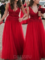 V-Neck Sleeveless A-Line Floor-Length Bridesmaid Dress