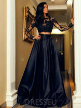 Lace Long Sleeves Two Piece Jewel Neck Satin Evening Dress