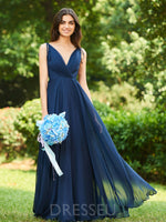 Sleeveless Floor-Length V-Neck A-Line Bridesmaid Dress