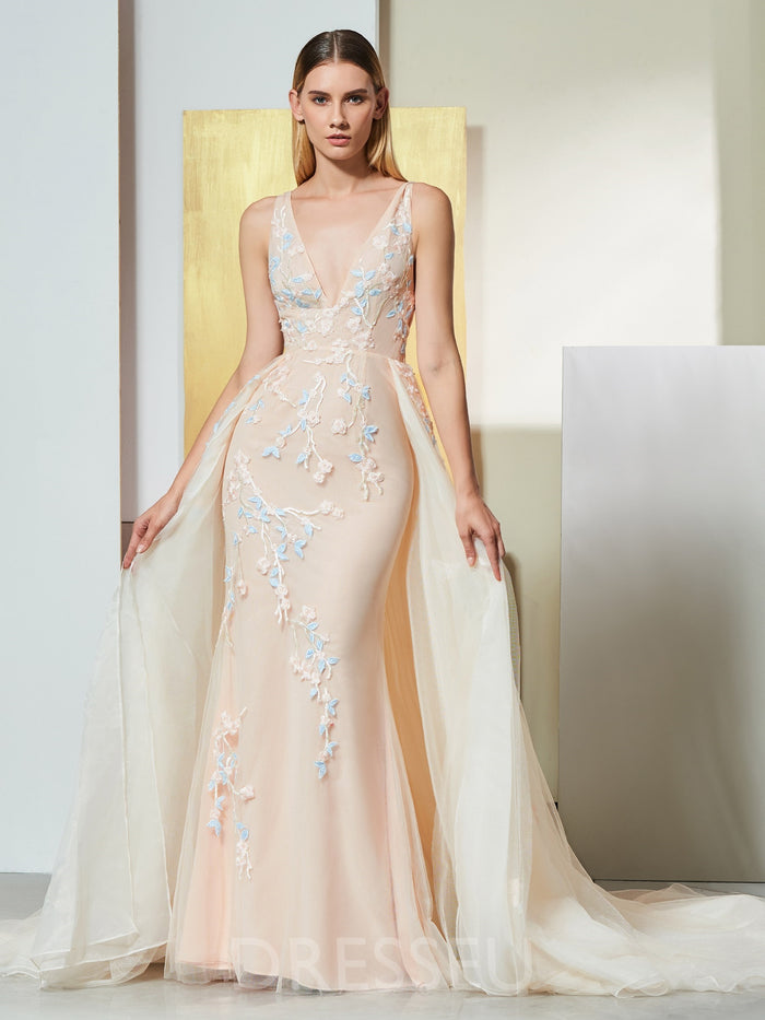 Floor-Length Sleeveless Appliques Trumpet/Mermaid Evening Dress