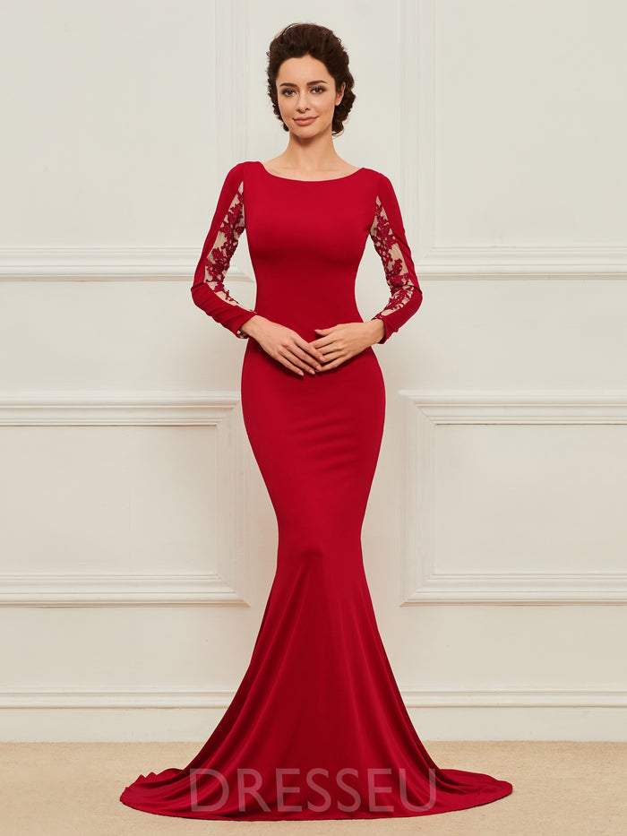 Trumpet/Mermaid Floor-Length Long Sleeves Sweep/Brush Mother of the Bride Dress