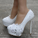 Slip-On Rhinestone Round Toe Stiletto Heel 14cm Plain Thin Shoes