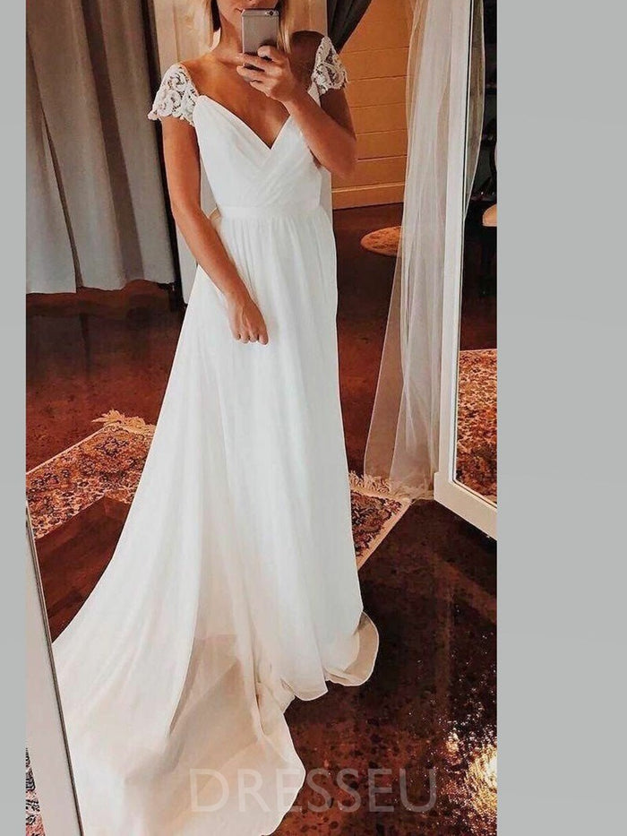 V-Neck Lace A-Line Sweep/Brush Hall Wedding Dress