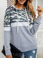 Print Regular Color Block Mid-Length Long Sleeve Hoodie