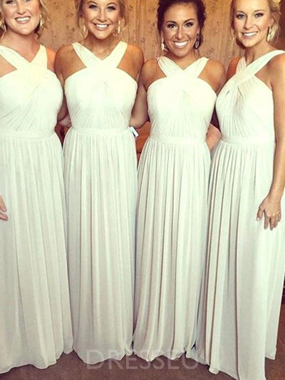 Floor-Length A-Line Sleeveless V-Neck Bridesmaid Dress