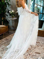 Lace A-Line 3/4 Length Sleeves Floor-Length Beach Wedding Dress