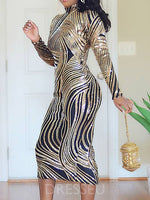 Mid-Calf Long Sleeve Sequins Bodycon Mid Waist Dress