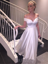 Off-The-Shoulder A-Line Floor-Length Court Wedding Dress