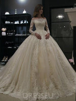 Off-The-Shoulder Floor-Length Ball Gown Long Sleeves Vintage Wedding Dress