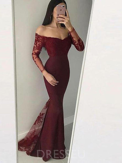 Long Sleeves Appliques Trumpet/Mermaid Off-The-Shoulder Evening Dress