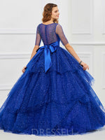 Ball Gown Half Sleeves Scoop Floor-Length Quinceanera Dress