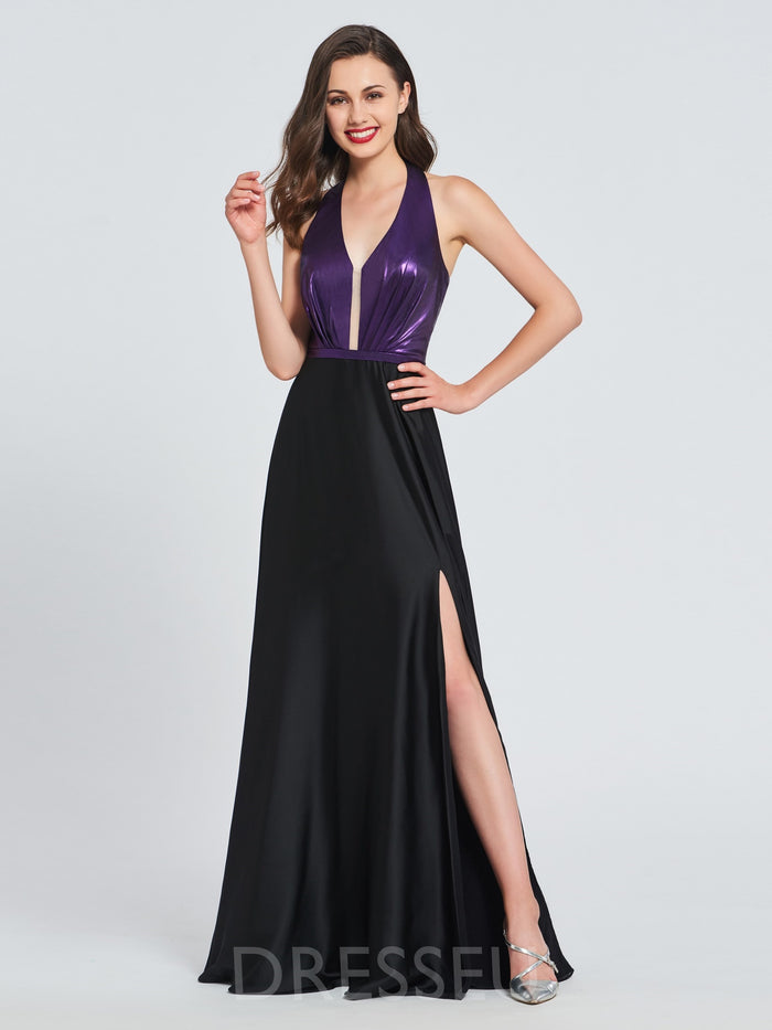 A-Line Sleeveless Halter Split-Front Prom Dress