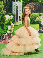 Luxurious Backless Sequins Tiered Tulle Asymmetry Flower Girl Dress