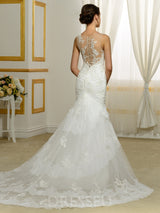 Court Sleeveless Appliques Trumpet/Mermaid Wedding Dress