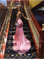 Trumpet/Mermaid V-neck Sleeveless Sequins Reflective Long Prom Dresses