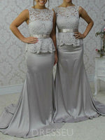 Floor-Length Scalloped-Edge Lace Sleeveless Wedding Party Dress