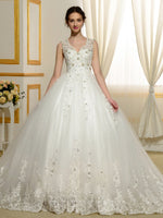 V-Neck Sleeveless Appliques Ball Gown Wedding Dress