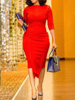 Three-Quarter Sleeve Asymmetric Mid-Calf Regular Pullover Dress