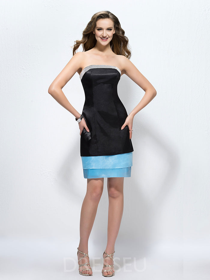 Strapless Sheath/Column Sleeveless Beading Formal Dress
