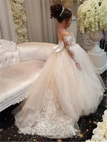 Ball Gown Long Sleeves Tulle Appliques Bowknot Flower Girl Dress