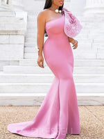 One Shoulder Long Prom Dresses Pink Party Dresses Cheap Evening Gowns