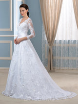 Floor-Length V-Neck Appliques 3/4 Length Sleeves Wedding Dress