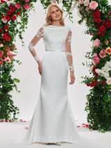 Off-The-Shoulder Floor-Length Appliques Long Sleeves Wedding Dress