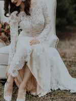 Elegant Long Sleeves Beading Trumpet/Mermaid Lace Wedding Dress