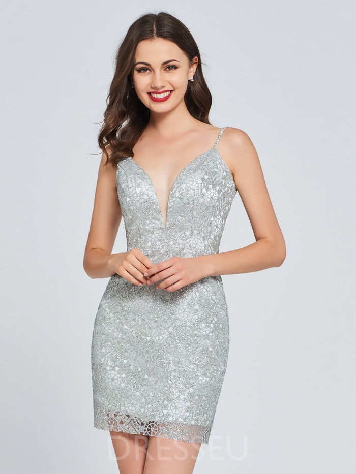 Sleeveless Spaghetti Straps Short/Mini Sequins Sweet 16 Dress