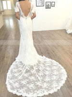 Short Sleeves Floor-Length V-Neck Court Garden/Outdoor Wedding Dress