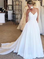 Floor-Length Sleeveless A-Line Spaghetti Straps Beach Wedding Dress