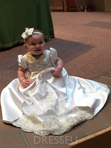 Beading Appliques Infant Girls Christening Gown with Headband