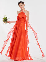 Floor-Length A-Line Ruffles Halter Bridesmaid Dress