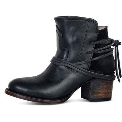 Chunky Heel Lace-Up Back Round Toe Ankle Boots