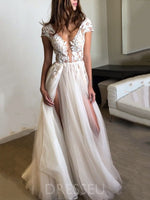 A-Line Floor-Length V-Neck Split-Front Garden/Outdoor Wedding Dress