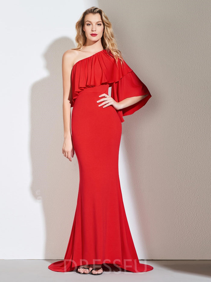 Trumpet/Mermaid One Shoulder Sweep/Brush Floor-Length Evening Dress