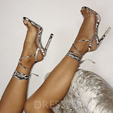 Open Toe Ankle Strap Lace-Up Stiletto Heel Low-Cut Upper Serpentine Sandals
