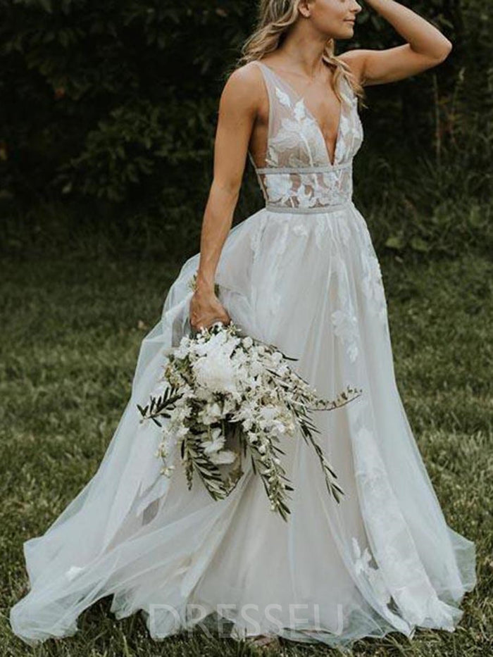 Floor-Length A-Line Sweep/Brush Sleeveless Hall Wedding Dress