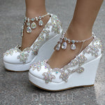 Rhinestone Buckle Round Toe Wedge Heel Plain 12cm Thin Shoes