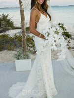 Trumpet/Mermaid Floor-Length Sleeveless Spaghetti Straps Church Wedding Dress