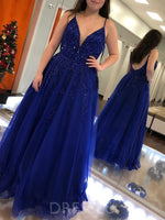 Spaghetti Straps Sleeveless A-Line Appliques Plus Size Prom Dress